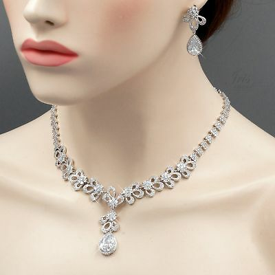 White Gold Plated Zirconia CZ Necklace Earrings Bridal Wedding Jewelry Set 06426