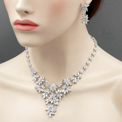 White Gold Plated Zirconia CZ Necklace Earrings Bridal Wedding Jewelry Set 06487