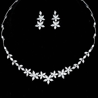 White Gold Plated Zirconia CZ Necklace Earrings Bridal Wedding Jewelry Set 06521