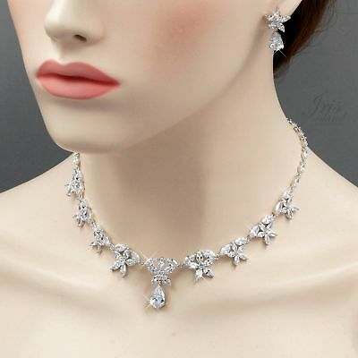White Gold Plated Zirconia CZ Necklace Earrings Bridal Wedding Jewelry Set 06534