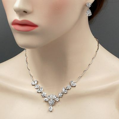 White Gold Plated Zirconia CZ Necklace Earrings Bridal Wedding Jewelry Set 06567