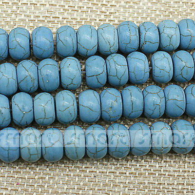 "Blue Round Shape Synthetic Turquoise Spacer Loose Beads 15.5"" Inches Strand"