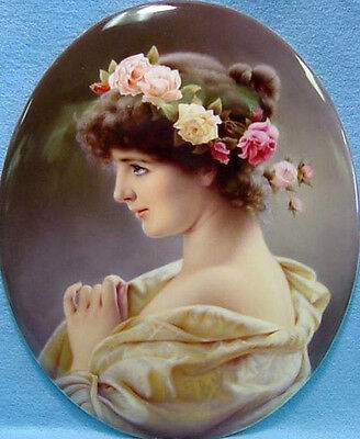 Nice Oil painting portraits young girls wearing beautiful spring roses flowers