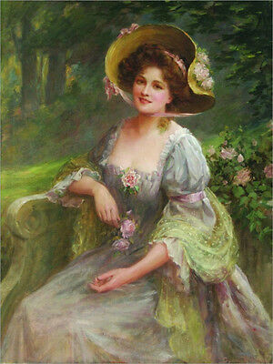 Hand painted Oil painting young lady wearing flowers hat in landscape sitting