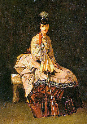 Oil painting Goupil, Jules-Adolphe French artist - Nice young girl seated canvas