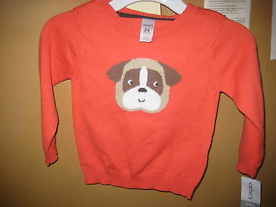 Carter's infant clothing sweater, 24m, coral color, puppy, 100% cotton