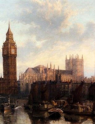 Huge oil painting stunning cityscape with London's Big Ben Thames canoes boats