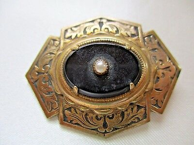 Vintage Mourning Brooch Pin Gold Tone Black Center With Seed Pearl