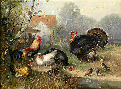 Excellent oil painting happy family animals Poultry cock hen chicks Hand painted