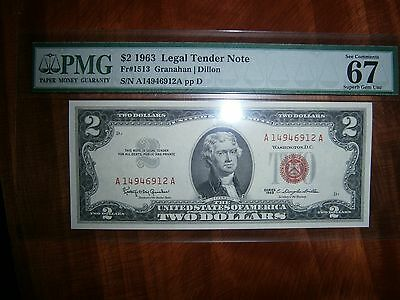 1963 $2.00 Bill Legal Tender Note Pmg 67 Unc Superb Gem