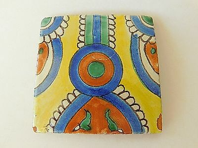 Vintage Handmade Decorative 4 x 4 Mexican Tile Glazed Terracotta Clay Yellow