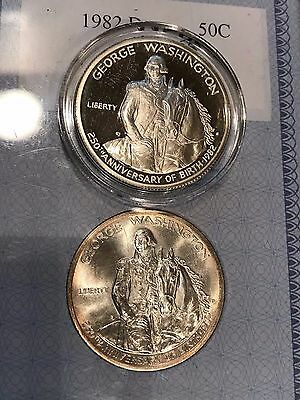LOT OF x2 - SILVER 1982-S George Washington Proof & UNC Half Dollar SET - CHEAP