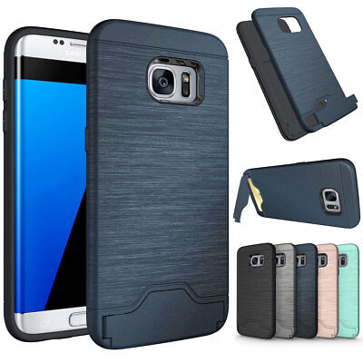 Luxury Brushed Card Holder Armor Case Cover For Samsung Galaxy S8 Plus Blue