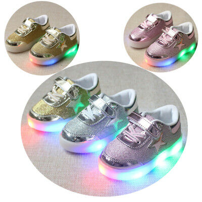 Baby Kids Boys Girls LED Light Up Luminous Sport Shoes Trainers Sneakers Unisex