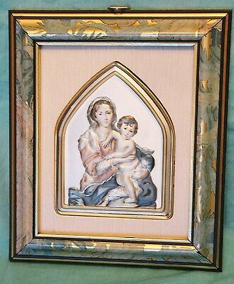 Italian Italy MADONNA & CHILD Icon Painting on Silver Framed