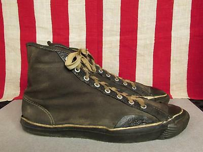 Vintage 1930s US Pro Keds Black Canvas Hi-Top Basketball Sneakers Sz.10 WWII era