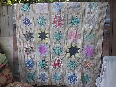 """C. 1940's stunning """"Star"""" antique quilt TOP (30 stars), twin or double,SC"""