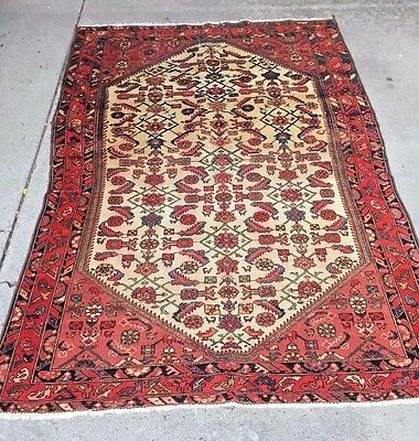 Rare antique Persian tribal Malayer rug with nice color combination 1940's 4x7