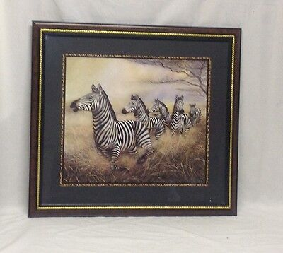"""Home Interior Homco""""Beautiful """"Approaching Storm Zebra's Print"""" Picture"""""""