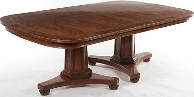 Henredon Banded Mahogany Dining Table Double Pedestal GeorgIan Style 1 Leaf