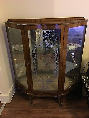 ANTIQUE BOW FRONT CHINA DISPLAY CABINET/ UNIT GLASS SHELVES **reduced**