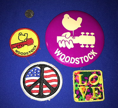 LOT vintage WOODSTOCK Hippy PEACE CLOTH Embroided PATCH+GIANT BUTTON/PIN UNUSED