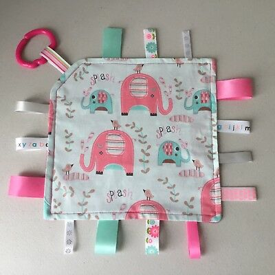 Handmade Tag Blanket/Taggie/Taggy/Security Toy ~ Elephant Splash Design - Pink