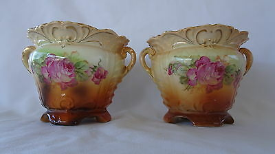 Pair Small Austrian SHABBY PINK ROSES Jardinere Pots