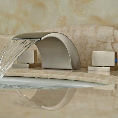 Brushed Nickel Bathroom Basin Faucet Waterfall Spout Sink Single Hole Mixer Tap