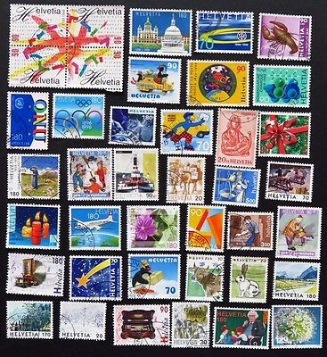 Switzerland Stamp Collection Of 40 Used Stamps All Unhinged
