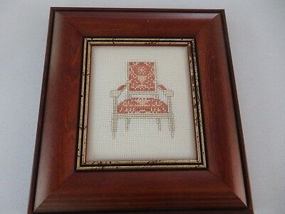 Framed cross stitch featuring a regency chair timber & gold frame