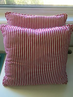 Set Of 2 Cotton Linen Cushions & Covers Pink/white Stripe Quality Large