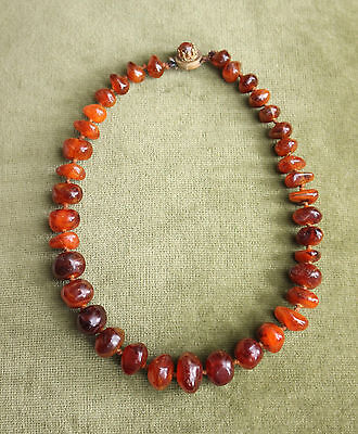 Large Antique c19th Genuine Amber Beads, Cognac Colour, 29gr 40cm, Gilt Clasp