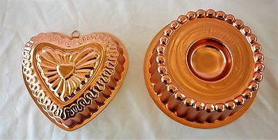 Retro Pair Anodised Jelly Moulds Pate Moulds VGC