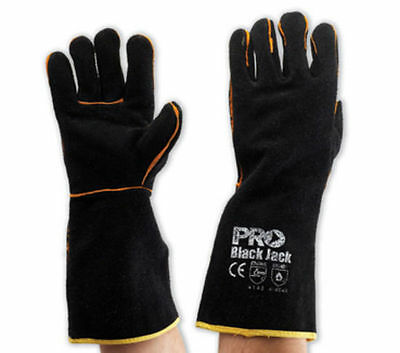 X3 - NEW BLACK WELDING GLOVES 16 INCHES PROCHOICE BLACK JACKS One Size Fits All