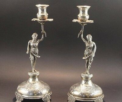 Vintage Magnificent Pair Of Solid Silver 925 Candlesticks Marked Candelabras