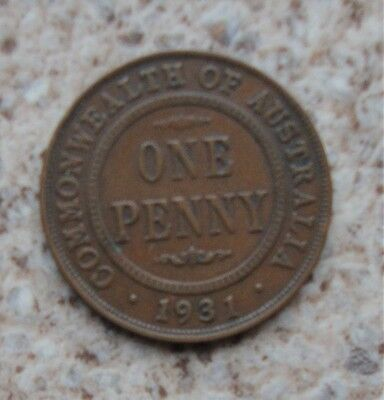 1931 dropped 1 Australian KGV penny, scarce date, free regular post