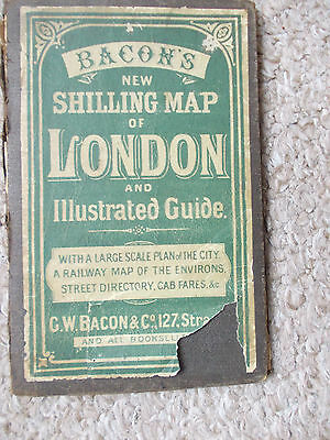 Bacons Shilling Map & Illustrated Guide of London Ca.1890