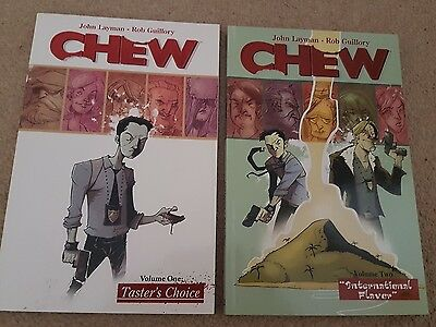 Chew volume 1 and 2 graphic novels.