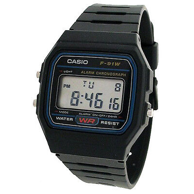 Reloj Casio Digital F-91W-1 Retro Original Alarma Cronometro