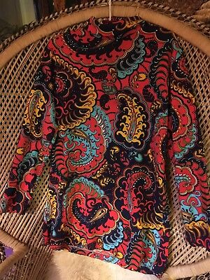 Vintage 60s Psychedelic Paisley Tunic Mini Hippie