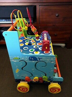 Baby Activity Cube & Walker Wood Activity Toy Toddler, Walk Learning Kids