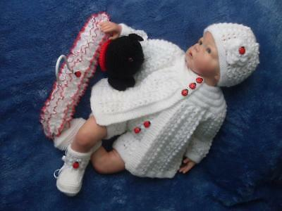 Sweet Hand Knitted Matinee Set, Toy & Coat Hanger for Baby Girls or Reborn Dolls