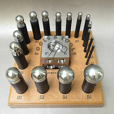 """17 x QUALITY DAPPING PUNCH SET STEEL 2.5"""" SQUARE DOMING BLOCK WITH WOODEN STAND"""