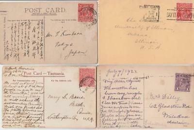 Collection Kgv Various Value Postcards Covers X 4 Of Used Pre Decimal Australia