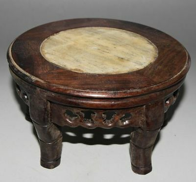 Ancient Chinese old Wood inlaid stone hand-carved wood stand