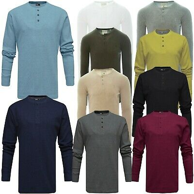 Mens Brave Soul Grandad Long Sleeve T-Shirt Buttoned Top Mitchell
