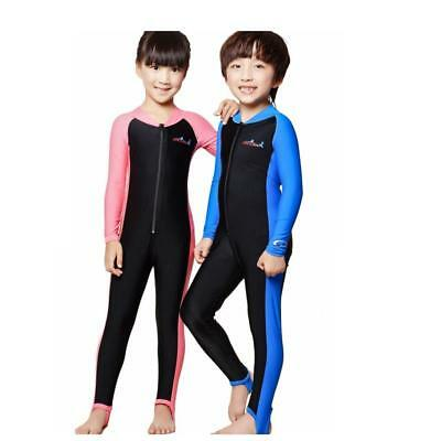 Kids Boys Girls Full Body Swimming Diving Wetsuit Long Sleeve Front Zip Swimwear