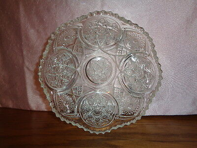 EAPG bowl, scalloped, pressed glass sawtooth rim, Hobstars,   Very good condit