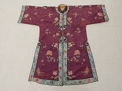 Antique Chinese Hand Embroidered Robe Fine Condition Magnificent Circa 1850
